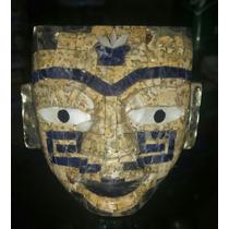 Máscara Figura De Obsidiana Artesanal Con Incrustaciones