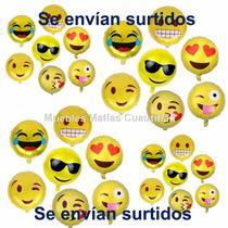 Lote 30 Pzas Globos Emoji Emoticons Metalico 18 Pulgadas