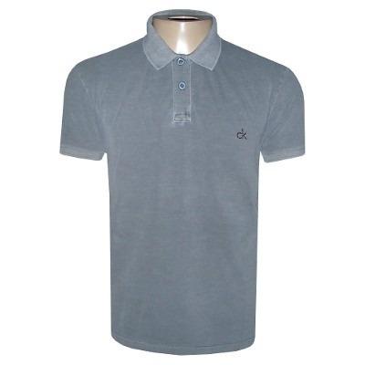 c262abc9e Camisa Polo Calvin Klein Camiseta Ck Cinza - R  97
