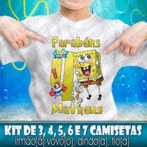 5 Camisetas Bob Esponja Camisa Festa Kit Aniversário Blusa
