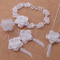 Collar, Aretes, Anillo Y Pulsera, Plata 925, Diseño: Flores