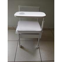 Cadeira De Manicure Cirandinha Com Gaveta Mesa Móvel Branco