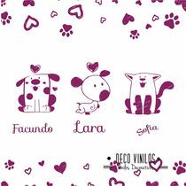 Vinilo Decorativo Infantil Con Nombre Animalitos Rosario