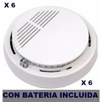 Detector Sensor Humo X 6 Uni Cert Bateria 9 Vcc Incluida !!