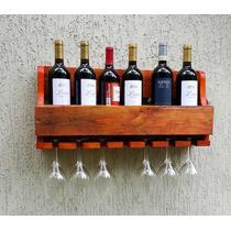 Adega Para Vinhos Em Madeira Com Porta Taças