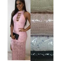 Vestido Longo Trico/croche Linho C/ Fenda Decote Frente Unic