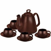 Conjunto Para Café 9 Peças De Cerâmica Chocolate - Ceraflame