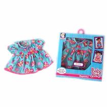 Roupinha Para Boneca Baby Alive Vestido Azul Com Borboleta
