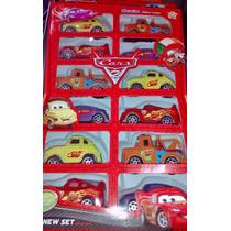 Kit Com 12 Carrinhos Cars Carros Disney Mate Mcqueen Ficção