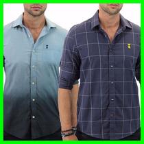 Camisa Sergio K - Camisa Social Botão Manga Longa Masculino