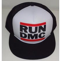 Boné Run Dmc Hip Hop Classico Trucker Cap Tela Aba Reta