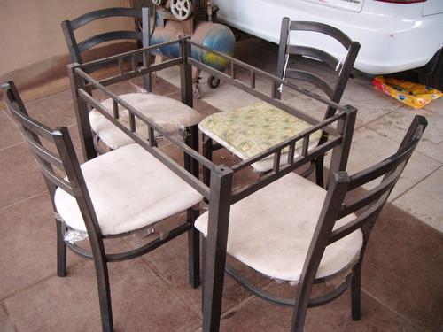 Comedor herraje cristal 4 sillas moderno 2 en for Comedor 4 sillas moderno