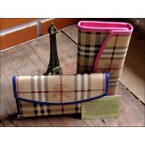 Carteira + Porta Cartão Burberr 100% Couro Em 12x Sem Juros