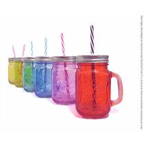 Tarro Mason Jar De Color Con Popote Para 500 Ml
