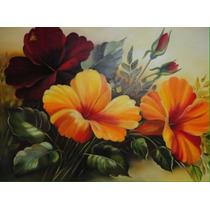 Quadro Painel Hibiscos Amarelo Vermelho Pintura Óleo 60x80