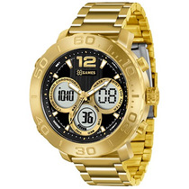 Relógio X-games Masculino Xmgsa002 P2kx Dourado Fundo Preto