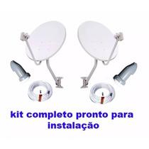 Kit 2 Ku+lnb Duplo 2 Antenas 60cm Banda +40mts De Cabo