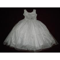 Vestido Blanco Largo 6 Y 8 Años Fiesta Princesa Damita Honor