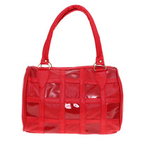 Bolsa Tote Roja Cuadros Fashion Piel Sintetica