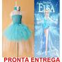 Fantasia Vestido Elsa Frozen Com Saia Tutu Pronta Entrega