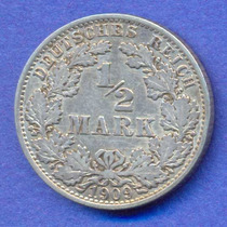 Alemania Imperio 1/2 Mark 1909 A Plata * Wihelm Ii *