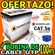 Wow Bobina De Cable De Red Utp 100mts Cat 5e Redes Cctv