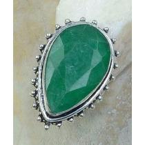 Anel Feminino Lindo Grande Pedra Esmeralda Natural Aro 16