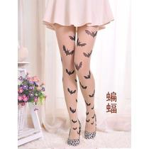Meia Calça Tatuagem Morcego - Geek,cosplay,pin Up, Gotico