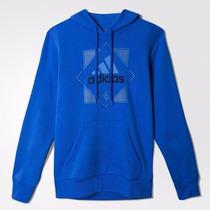 Poleron Con Capucha Azul Hombre Adidas Original Y Nuevo
