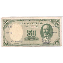 Chile Billete De 5 Centesimos Sobre 50 Pesos 1960+61 P.126