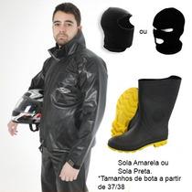 Kit Capa De Chuva Pioneira Pvc + Bota Galocha + Balaclava