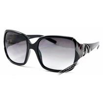 Óculos De Sol Feminino Preto Italiano Cromado Novo Original