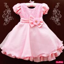 Vestido Peppa Pig Princesa Rosa Festa Infantil Com Tiara