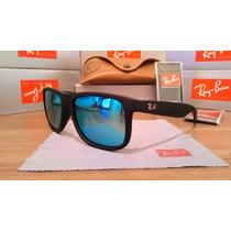 Óculos Ray Ban Justin Lentes Azul Polarizadas Fosco Rb4165
