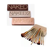 Paleta De Sombra Naked 1 2 3 + Jogo De Pinceis 12 Pçs Naked