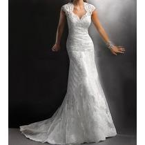 Vestido De Noiva Estilo Sereia Bordado - Envio Imediato