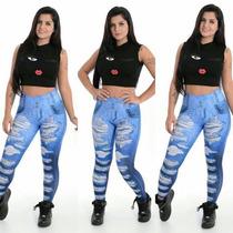Calça Legging Imita Jeans Sublimada Estilo Panicat P M G Gg