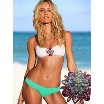 Traje De Baño Verde Bikinis Trikinis Push Up Blanco M Y L