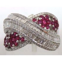 Pocao2005- Anel De Ouro Branco 18k 750 Diamantes E Rubis