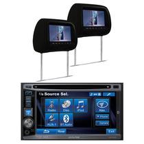 Dvd Player 2 Din Alpine Bluetooth Usb + 2 Encosto De Cabeça