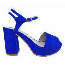 Sandalia Natacha Plataforma Taco Forrado Gamuza Azul #1112