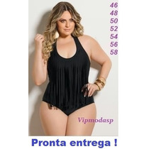 Maiô Franja Tamanho Grande Especial Plus Size Senhora Bojo