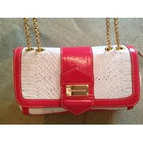 Bolsa Monica Sanches Branca Rosa Pequena Alça Dourada Delica