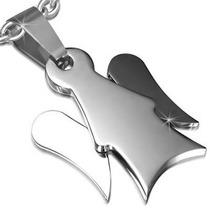 Dije De Acero Inoxidable Plata Diseño Angel De La Guarda