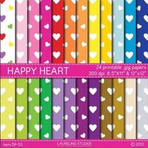 Kit Imprimible Pack Fondos Amor Corazones Clipart [065]