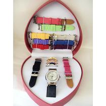 Kit Relógio Feminino Troca Pulseira 11 Pulseiras / 4 Aros