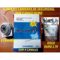 Kit Camaras Seguridad Dvr 4 Canales 4 Camaras Hd Y Discoduro