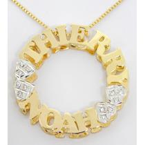 Colar Mandala Personalizado Com Nomes Banhado À Ouro