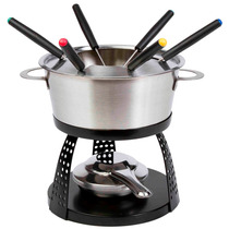 Set De Fondue De Acero Inoxidable Con Base Color Negro