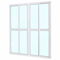 Porta Balcão 4 Folhas 2,10 X 1,50 Vidros Alumínio Branco